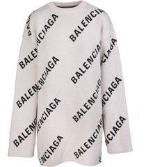 balenciaga man light beige and black allover logo round-neck pullover