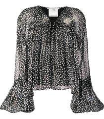 black and white polka-dots blouse