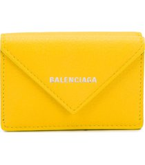 balenciaga papier mini wallet - yellow