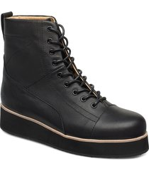 425g black leather shoes boots ankle boots ankle boot - flat svart gram