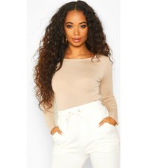 petite basic long sleeve top, stone