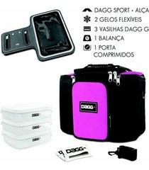 kit com bolsa térmica fitness dagg 6l braçadeira armband