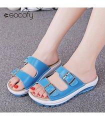 zapatos sandalias chanclas cuero plataforma -azul