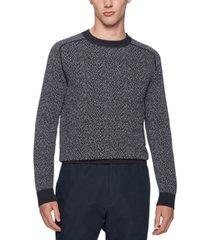 boss men's jacquard-woven cotton sweater