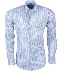 ferlucci heren overhemd met mini uil design calabria stretch - wit