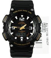 reloj casio aq-s810w-1b análogo digital resina negra para caballero