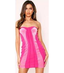 bandeau fluwelen en mesh mini jurk, roze
