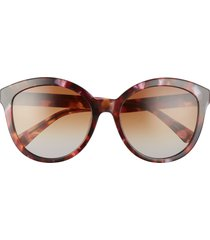 longchamp 57mm gradient round sunglasses in pink tortoise/camel grey at nordstrom