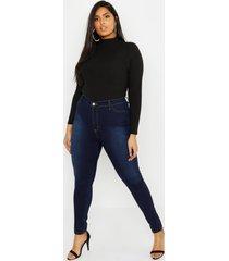 superhoge power stretch jeans met superhoge taille, indigo