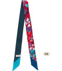 salvatore ferragamo floral print bandeau scarf - blue