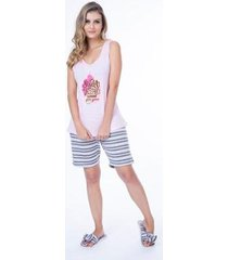 pijama regata sem manga e short curto feminino - feminino