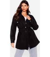 womens shirt-y little secret belted longline jacket - black