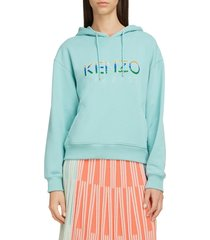 women's kenzo sequin logo cotton hoodie, size small - blue