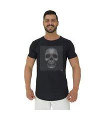camiseta longline alto conceito caveira pontilhada preto