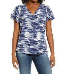 caslon(r) dobby flutter sleeve top, size medium in ivory- blue watercolor wash at nordstrom