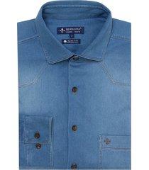 camisa dudalina manga longa vista lisa essentials jeans masculina (generico, 7)