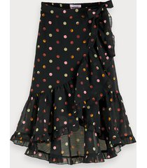 scotch & soda printed wrap over skirt