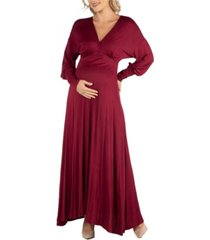24seven comfort apparel formal long sleeve maternity maxi dress