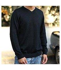 men's alpaca blend sweater, 'ebony' (peru)
