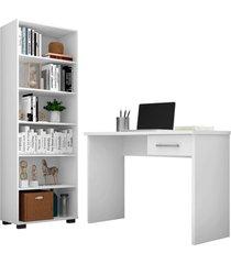 conjunto escritã³rio mesa 1 gaveta gã¡vea e estante office branco - mã³veis leã£o - branco - dafiti