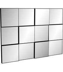 painel decorativo 3d quadriculado (espelhado) 100cm preto brilho dalla costa - preto - dafiti