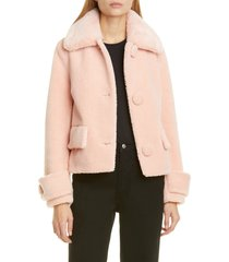 women's stand studio regina faux fur crop teddy jacket