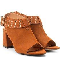 ankle boot couro mezzo punto salto bloco - feminino
