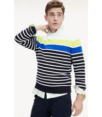 tommy hilfiger men's nautical stripe sweater navy/white/lime - xs