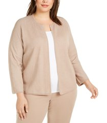 eileen fisher plus size open-front cardigan
