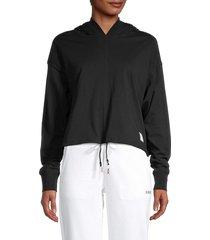 dkny sport women's logo-patch cropped cotton hoodie - black - size l