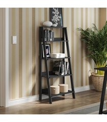 estante escada para livros com 4 prateleiras madesa preto - preto - dafiti