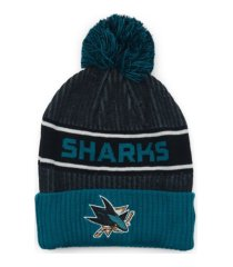 authentic nhl headwear san jose sharks 2020 locker room pom knit hat