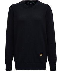 dolce & gabbana black cashmere sweater with logo
