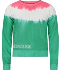 moncler red, white and green sweater for girl with logo