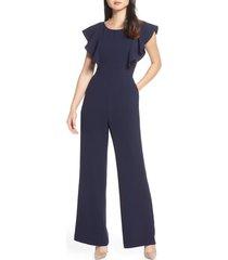 women's eliza j flutter sleeve jumpsuit, size 12 - blue
