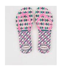 chinelo feminino havaianas flat mix estampado geométrico rosa
