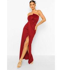strapless maxi wikkel jurk met split, berry