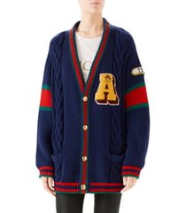 women's gucci wool cable knit varsity cardigan