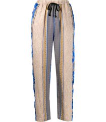 forte forte paneled pattern cropped trousers - neutrals