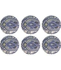 kit 6pçs d'rossi sousplat para prato suporte de mesa decorativo azul oriental 30 cm
