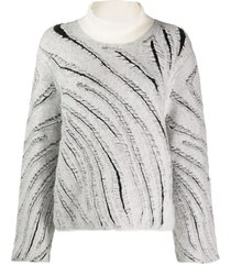 3.1 phillip lim zebra fringe turtleneck sweater - white