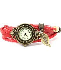 orologi a bracciale intrecciati in pelle multistrato con foglia per donna
