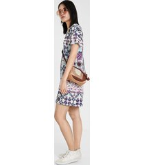 boho floral t-shirt type dress - red - 46