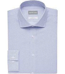 michael kors men's blue print slim fit stretch dress shirt - size: 22 34/35
