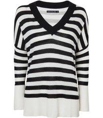suéter dudalina amplo listrado decote v manga longa tricot feminino (listrado / striped, egg)