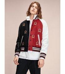 tommy hilfiger men's hilfiger collection crest varsity jacket jet black/red/white - 38