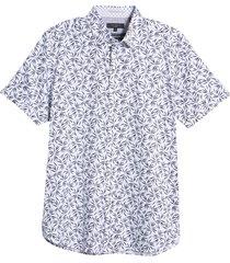 men's big & tall ted baker london short sleeve button-up shirt, size 4 - blue
