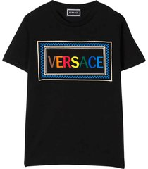 young versace black t-shirt with frontal logo