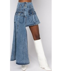 akira level up maxi mini denim skirt