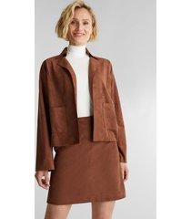 chaqueta mujer de suede marrón esprit
